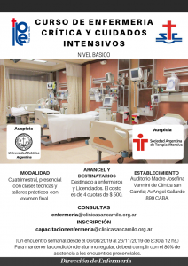 Afiche Curso de Enfermería crítica y cuidados intensivosde