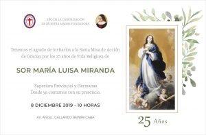 invitación 25 años de vida religiosa de Sor Luisa Miranda