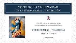 Afiche de la Santa Misa en honor a la Inmaculada Concepción y renovacion de votos de las Hermanas de la congregación
